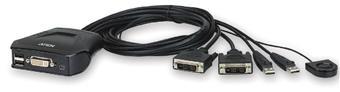 Aten 2-port DVI KVM USB mini, integrované kabely