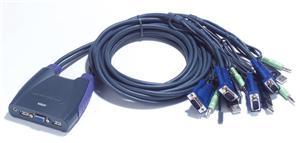Aten 4-port KVM USB mini, audio, 1.8m kabely - CS-64U