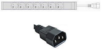 Základní PDU lišta,zásuvky UTE,přívod C14 (do UPS)
