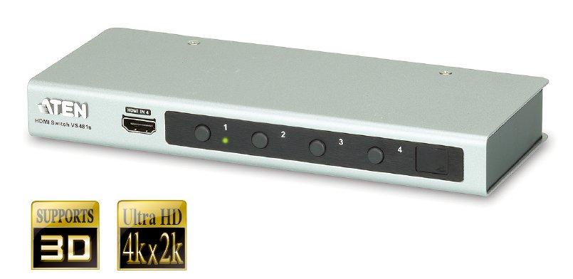 ATEN 4 port HDMI switch 4PC - 1 HDMI, 4k video - VS-481B