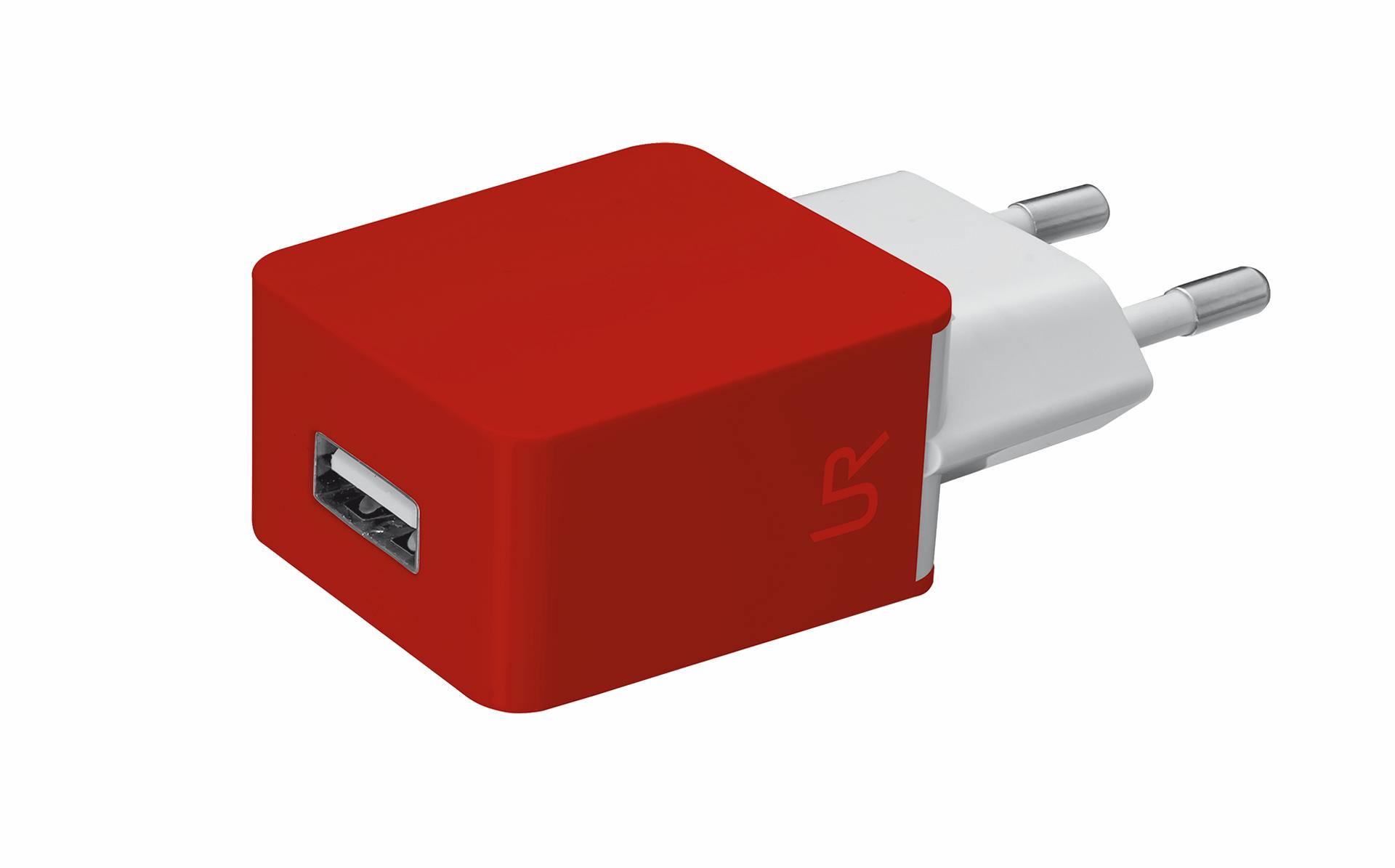 univerzální nabíječka TRUST s USB port, red