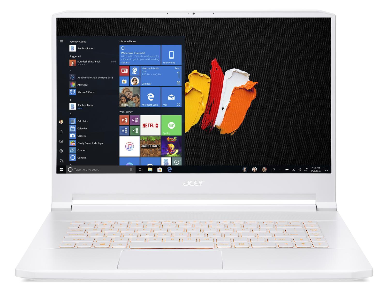 Acer ConceptD 7 (CN715-71) - 15,6''/i7-9750H/2*512SSD/2*16G/RTX2080/W10Pro bílý + 3 roky NBD