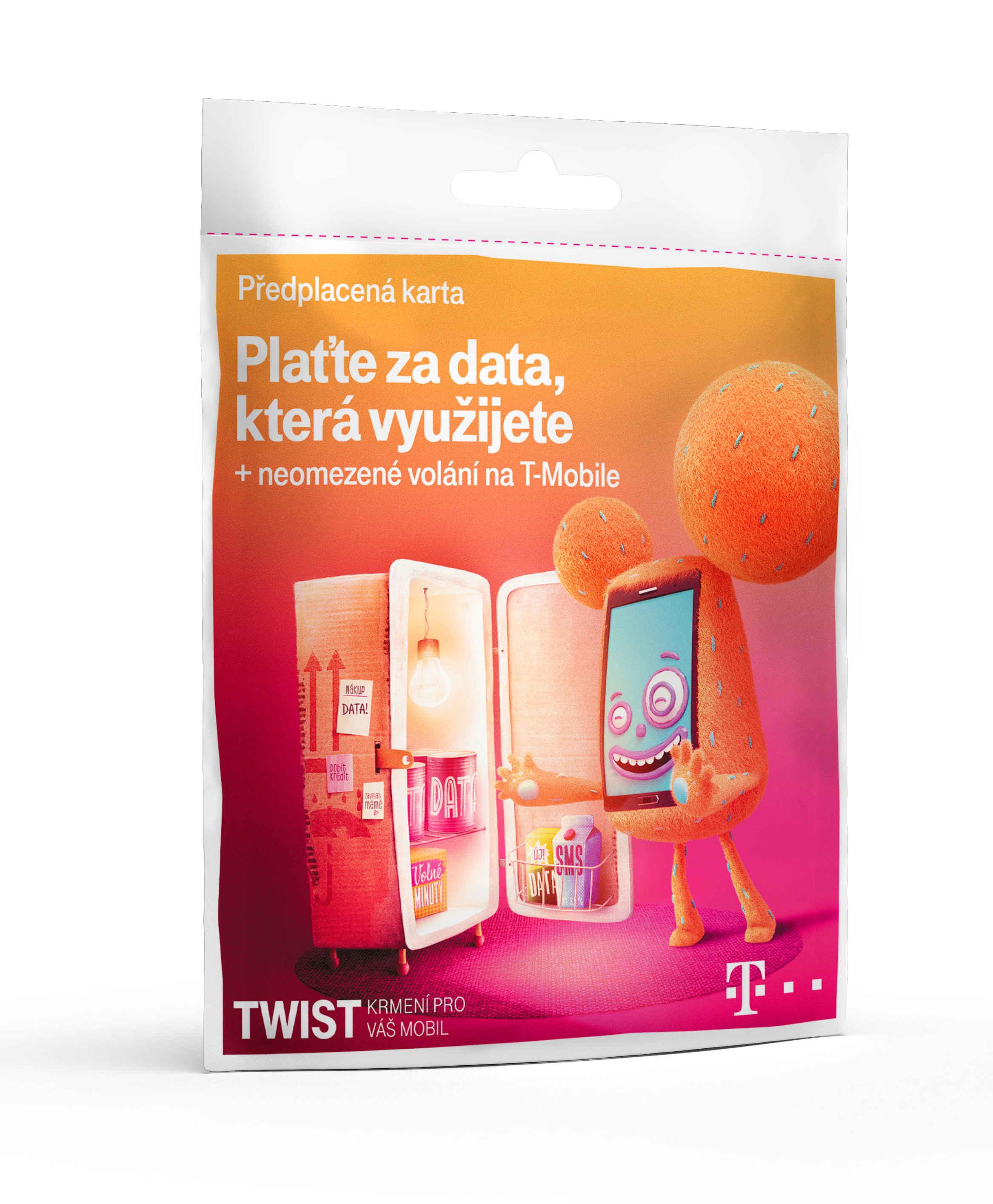 T-Mobile Plaťte za data která využijete + neomezené volání, 200kč kredit