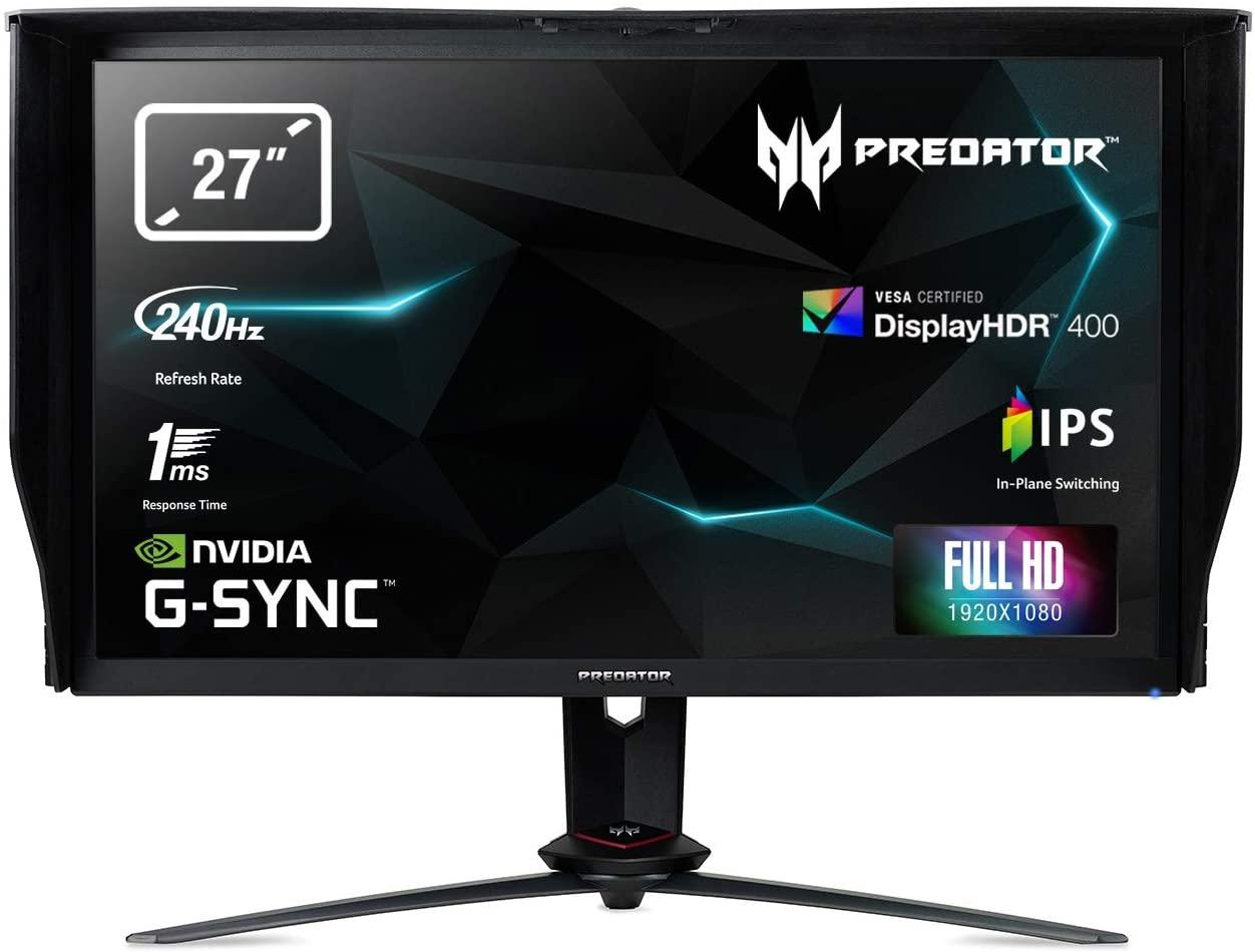 27'' Acer Predator XB273GX - IPS, FullHD@240Hz, 1ms, 400cd/m2, 16:9, HDMI, DP, USB, G-Sync, vyška - UM.HX3EE.X07