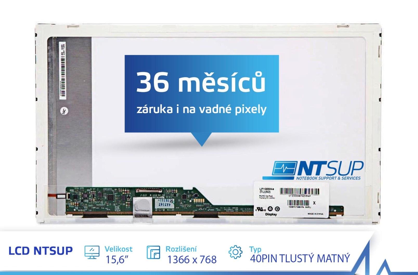 LCD PANEL NTSUP 15,6'' 1366x768 40PIN TLUSTÝ MATNÝ