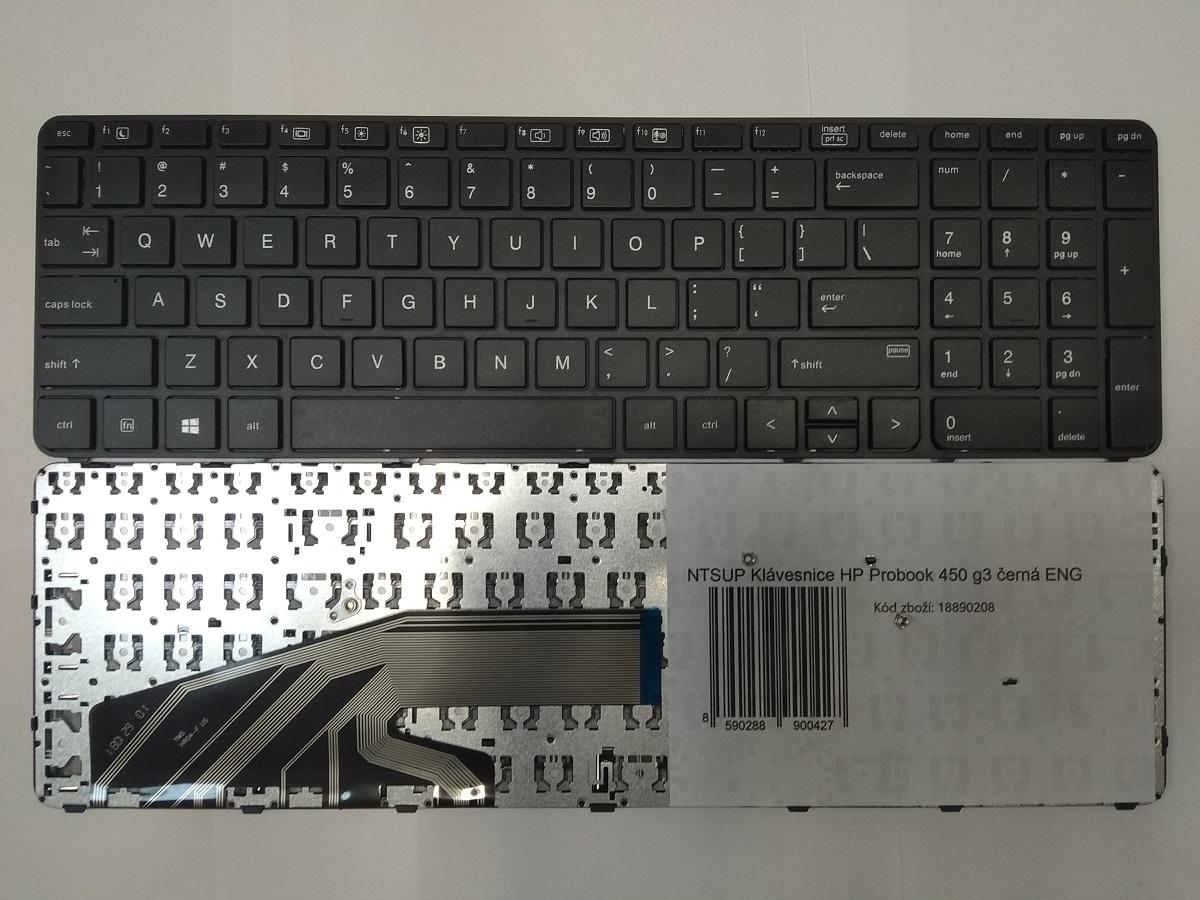 NTSUP Klávesnice HP Probook 450 g3 černá ENG - 28890042