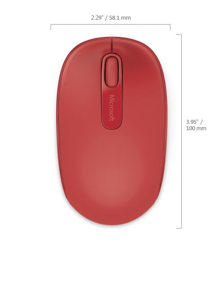 Microsoft Wireless Mobile Mouse 1850, Flame Red