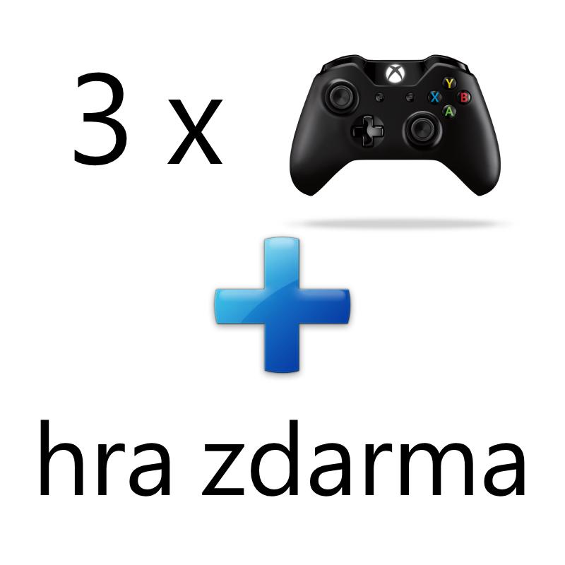 AKCE: 3 x XBOX ONE - Bezdrátový ovladač Xbox One, černý + 1 hra ZDARMA