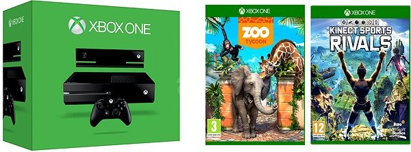 XBOX ONE 500GB Kinect senzor + 2 x hra (Kinect Sports Rivals + Zoo Tycoon)