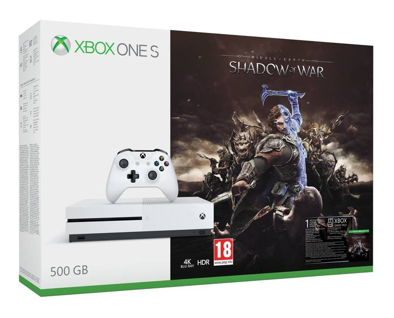 XBOX ONE S 500 GB + 1 x hra (Middle-Earth: Shadow of War)