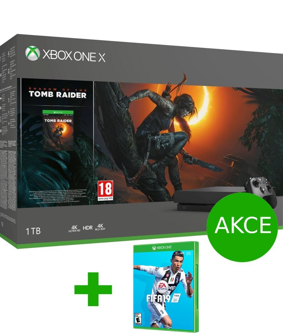 AKCE: XBOX ONE X 1 TB + Shadow of Tomb Raider + FIFA 19 + bílý ovladač ZDARMA + GOW4 ZDARMA
