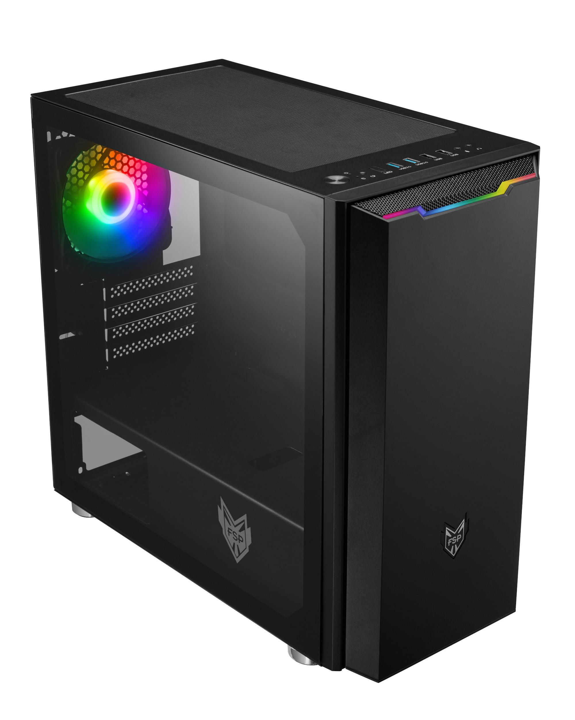 FSP/Fortron ATX Micro CST310 Black, průhledná bočnice, 1 x A. RGB LED ventilátor - POC0000069