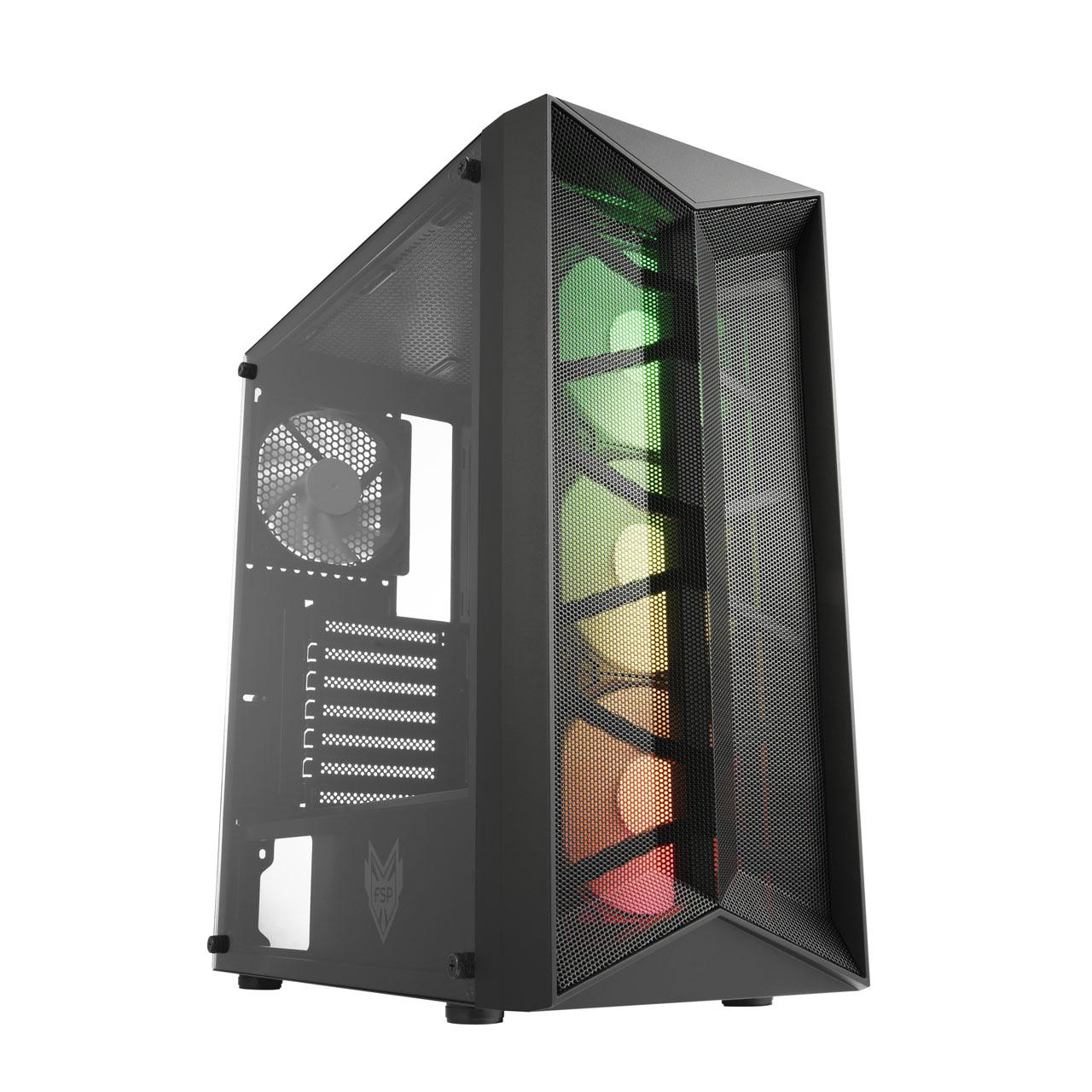 FSP/Fortron ATX Midi Tower CMT211A Black, průhledná bočnice, A.RGB - POC0000116