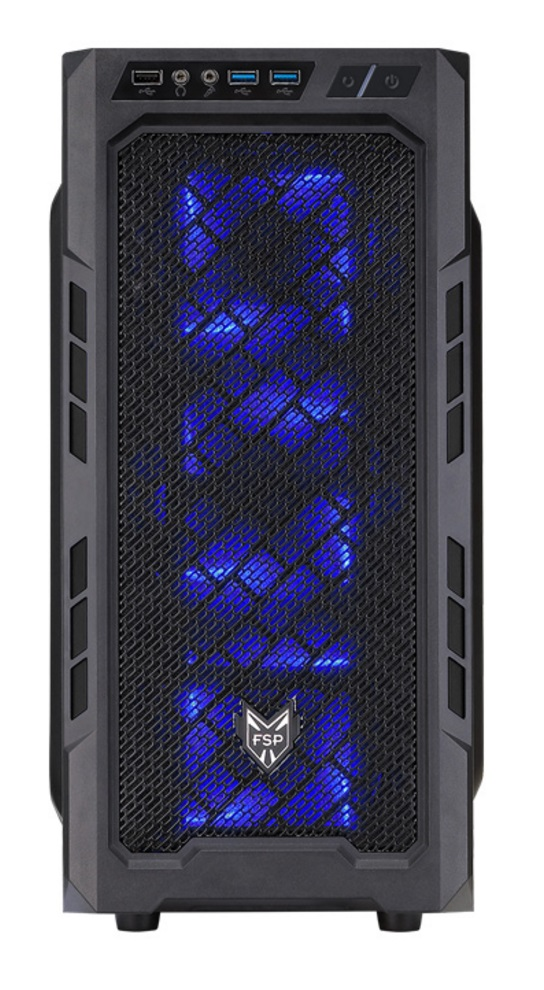 FSP/Fortron ATX Midi Tower CMT210 Black, průhledná bočnice + 500W zdroj Fortron