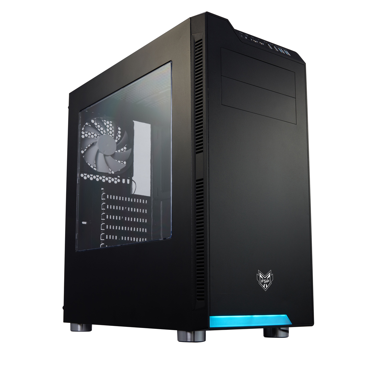 FSP/Fortron ATX Midi Tower CMT240 Black, průhledná bočnice - POC0000029