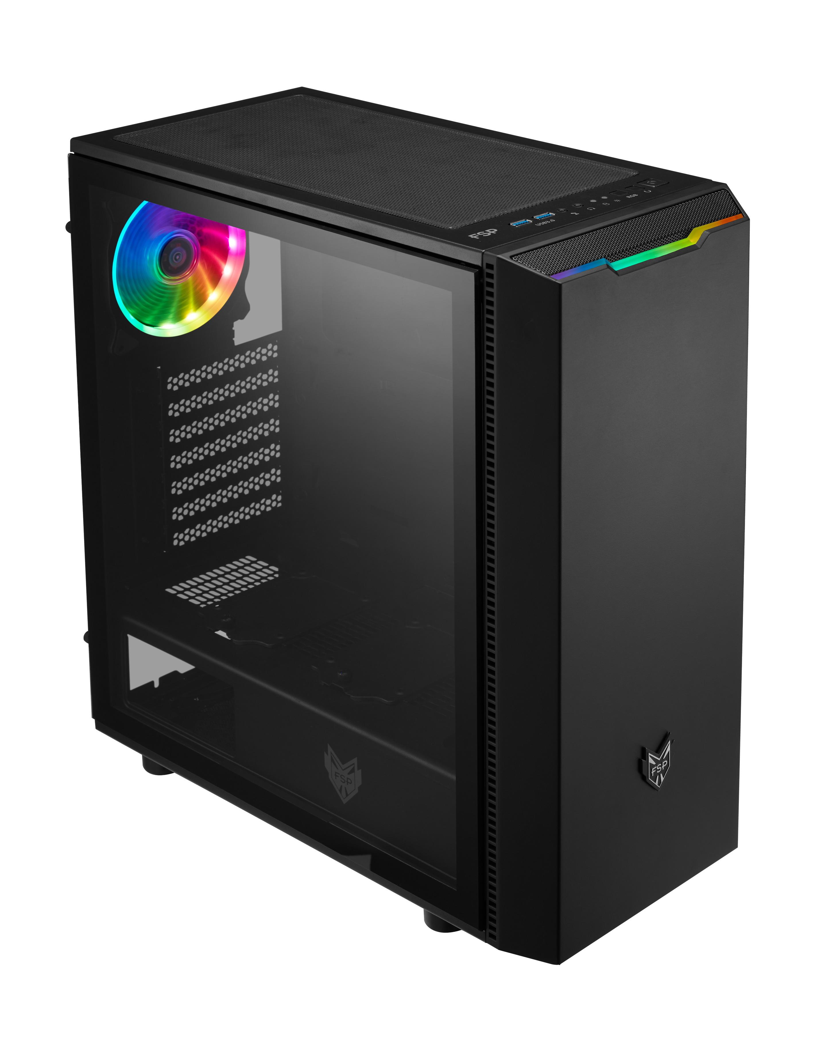 FSP/Fortron ATX Midi Tower CMT350 Black, průhledná bočnice, 1 x A. RGB LED 120 mm ventilátor - POC0000068