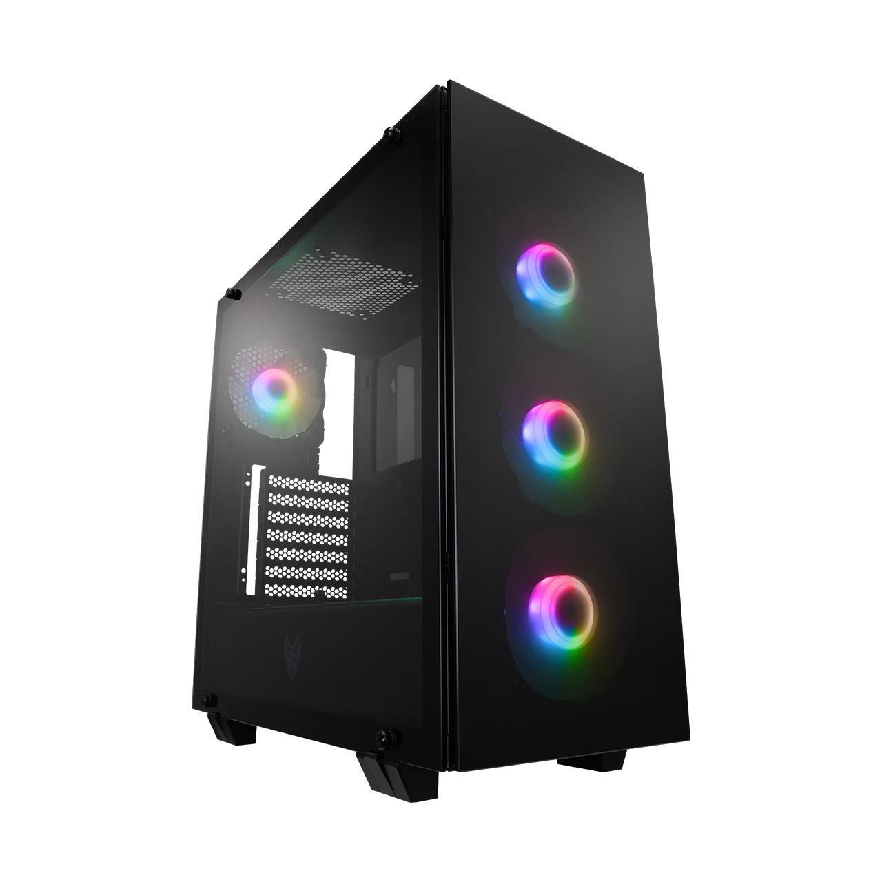 FSP/Fortron ATX Midi Tower CMT512 Black, průhledná bočnice, 4 x A.RGB LED 120 mm ventilátor - POC0000107