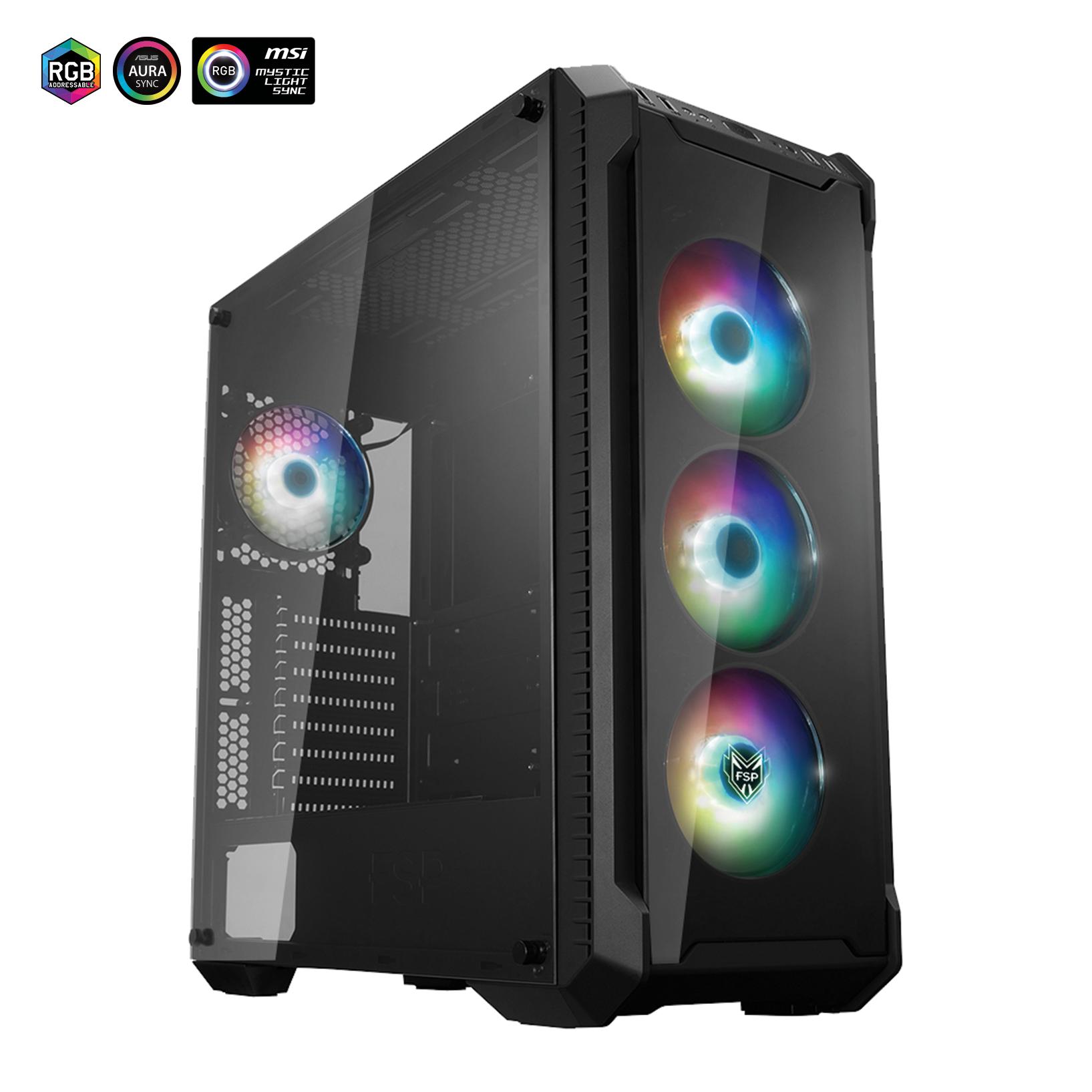 FSP/Fortron ATX Midi Tower CMT520 PLUS black, průhledná bočnice, 4 x A.RGB LED 120 mm ventilátor - POC0000060