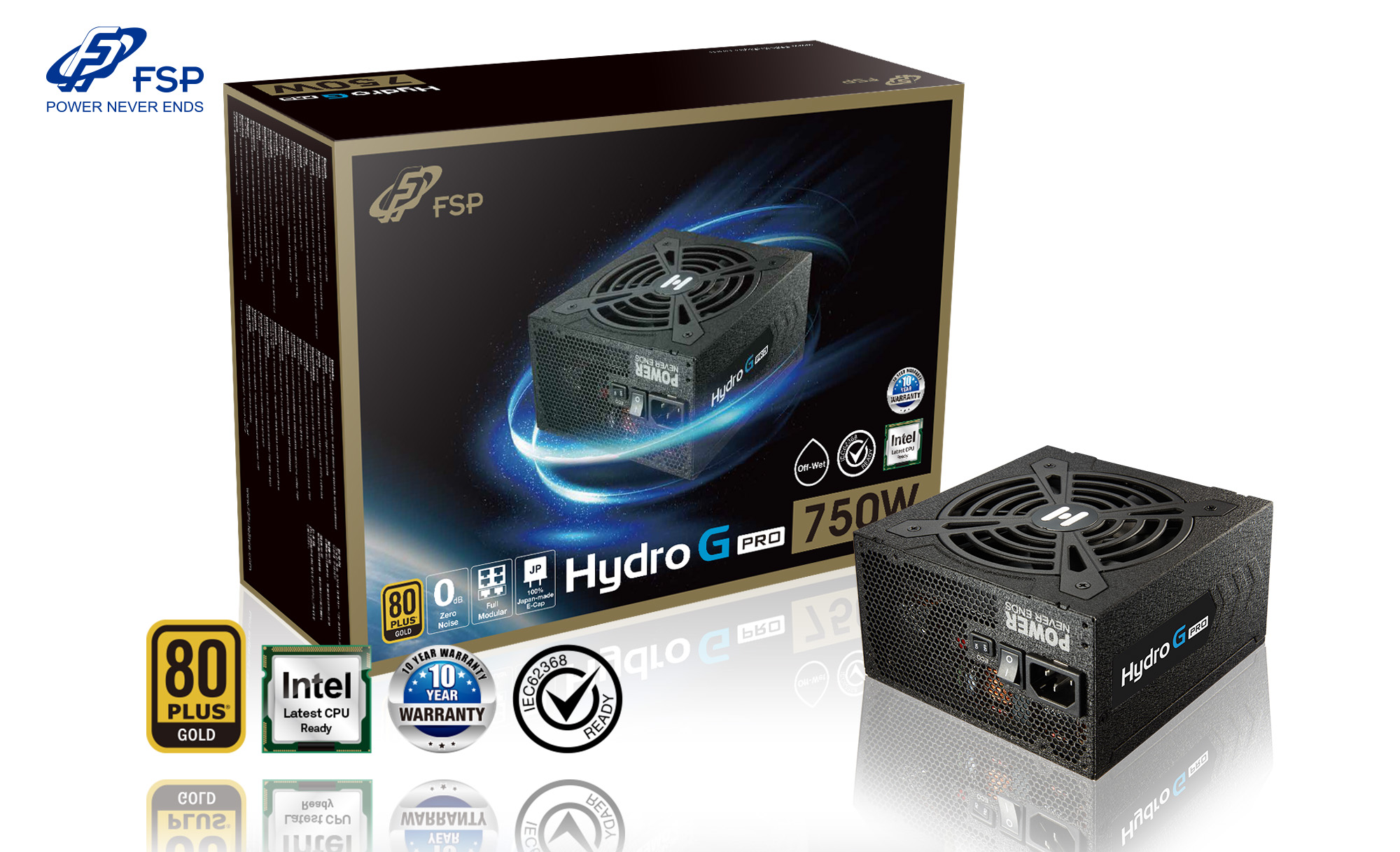 FSP/Fortron HYDRO G 750 PRO, 80PLUS GOLD, 750W, modular - PPA7505401