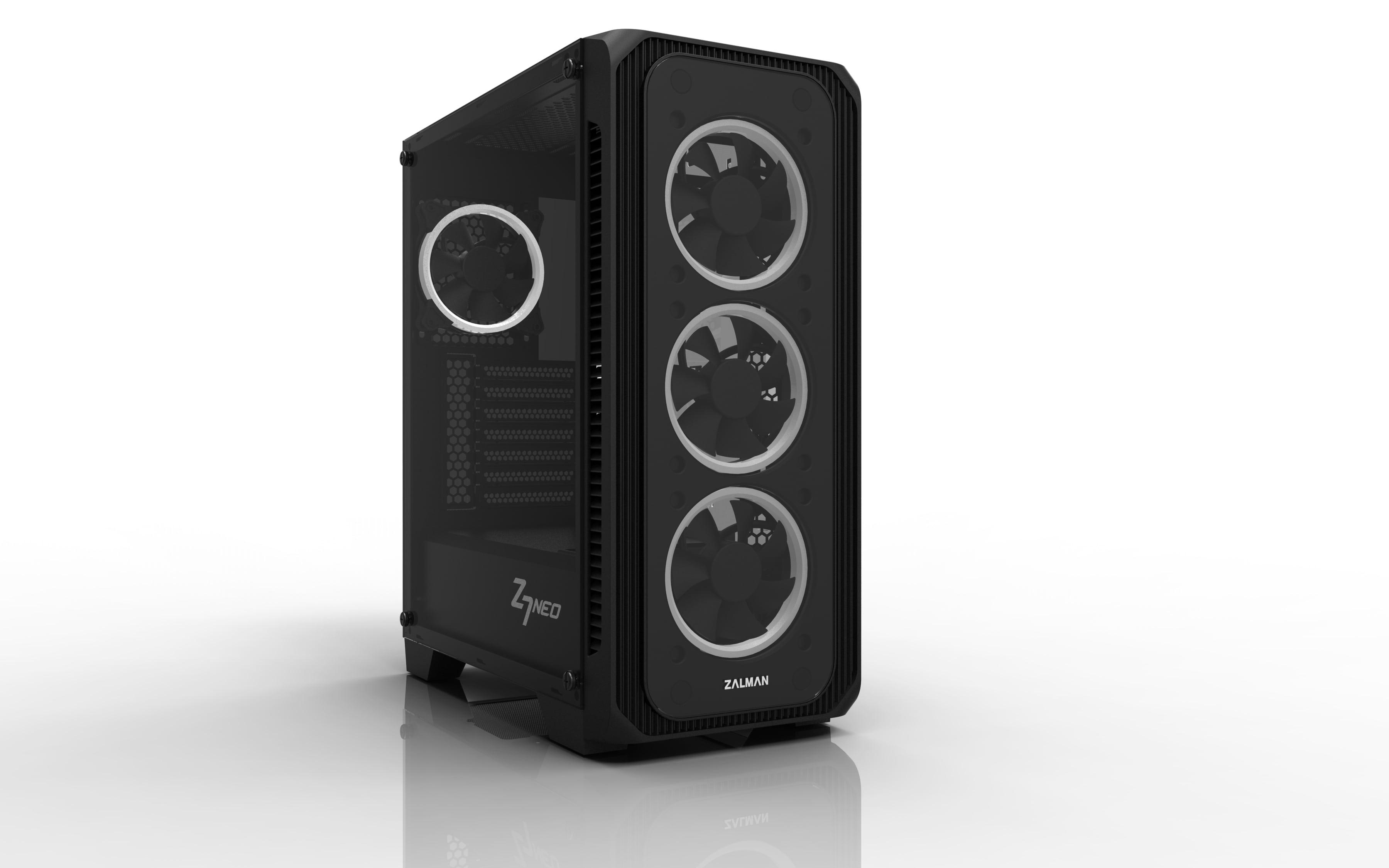 case Zalman miditower Z7 NEO, miniITX/microATX/ATX, panely z tvrzeného skla, 4x 120mm RGB ventilátor - Z7 NEO