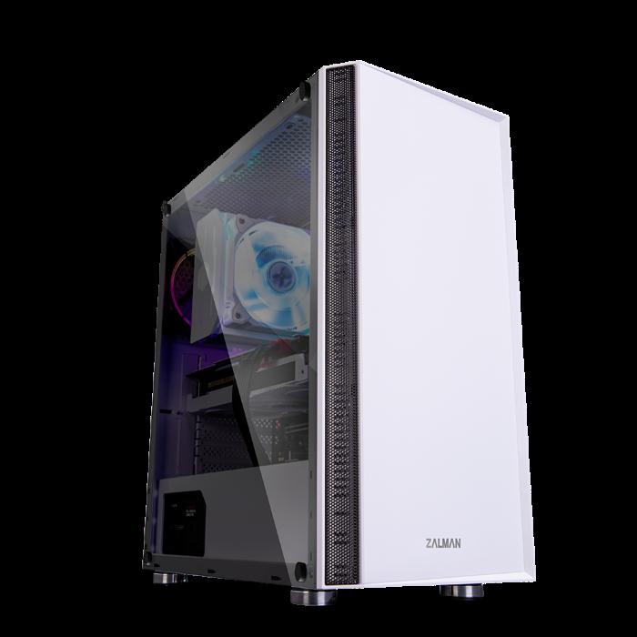 case Zalman miditower R2 white, E-ATX/mATX/ATX, průhledný bok, bez zdroje, USB3.0, bílá