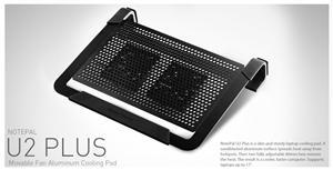 R9-NBC-U2PK-GP chladicí ALU podstavec Cooler Master NotePal U2 PLUS pro NTB 12-17'' black, 2x8cm fan