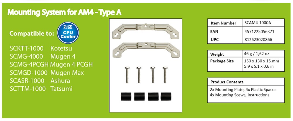 SCYTHE SCAM4-1000A Mounting System for AM 4 Type A