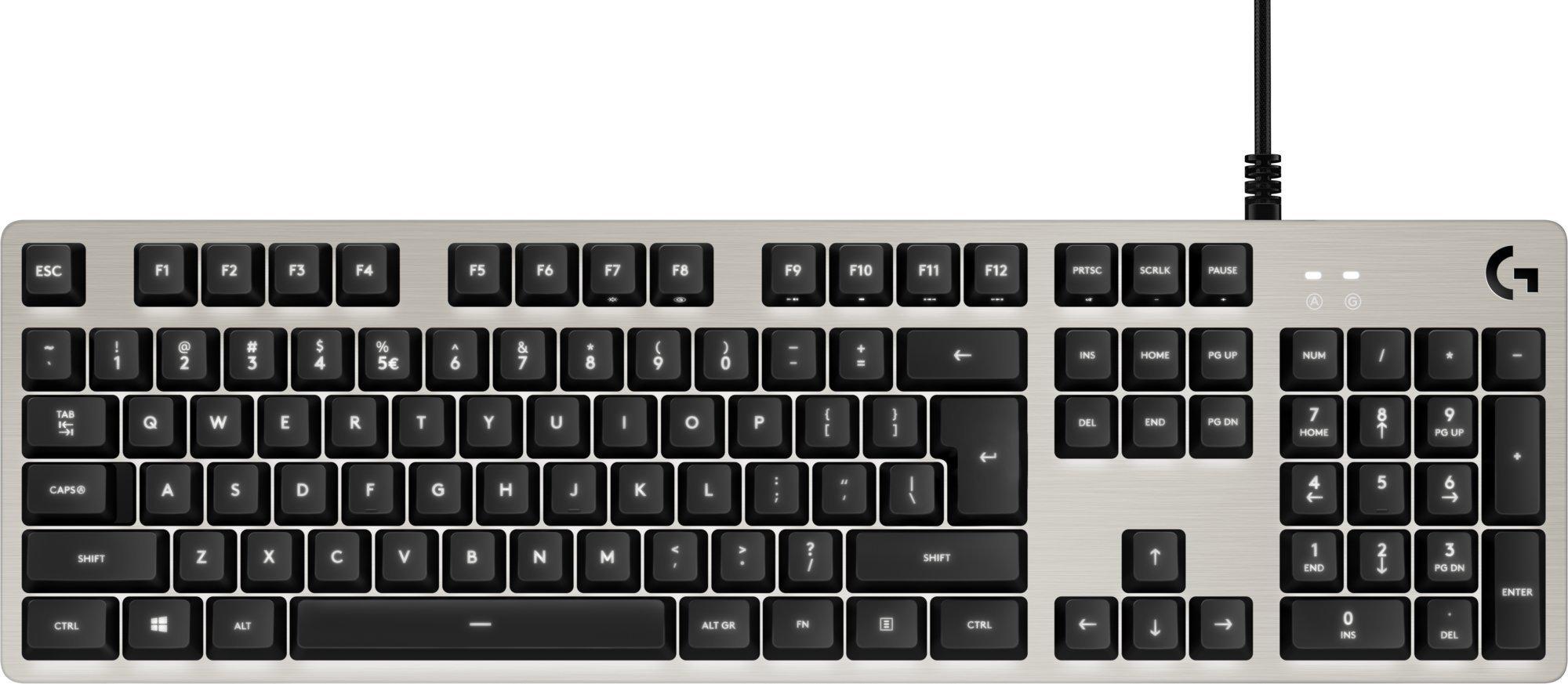herní klávesnice Logitech G413 Silver, US INTL layout - 920-008476