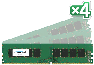 32GB DDR4 - 2133 MHz Crucial CL15 DR x8 DIMM kit, 4x8GB