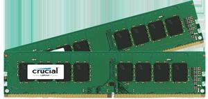 32GB DDR4 - 2400 MHz Crucial CL17 DR x8 DIMM kit, 2x16GB