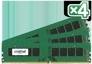 64GB DDR4 - 2400 MHz Crucial CL17 DR x8 DIMM kit, 4x16GB