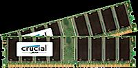 1GB DDR-400MHz Crucial CL3, kit 2x512MB