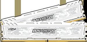 8GB kit DDR4 - 2400 MHz Crucial Ballistix Sport LT White CL16 SR x8 DIMM, 2x4GB