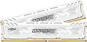 16GB kit DDR4 - 2400 MHz Crucial Ballistix Sport LT White CL16 DR x8 DIMM, 2x8GB