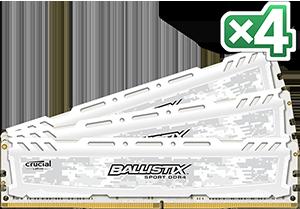 64GB kit DDR4 - 2400 MHz Crucial Ballistix Sport LT White CL16 DR x8 DIMM, 4x16GB