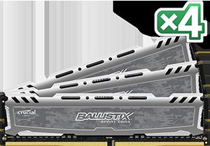 64GB kit DDR4 - 2400 MHz Crucial Ballistix Sport Grey CL16 DR x8 DIMM, 4x16GB