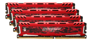 16GB  DDR4 2666MHz Crucial Ballistix Sport LT CL16 SR 4x4GB Red
