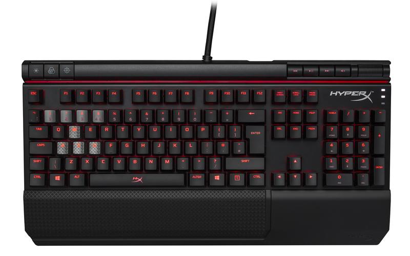 HyperX Alloy Elite herní mechanická klávesnice, hnědé MX spínače