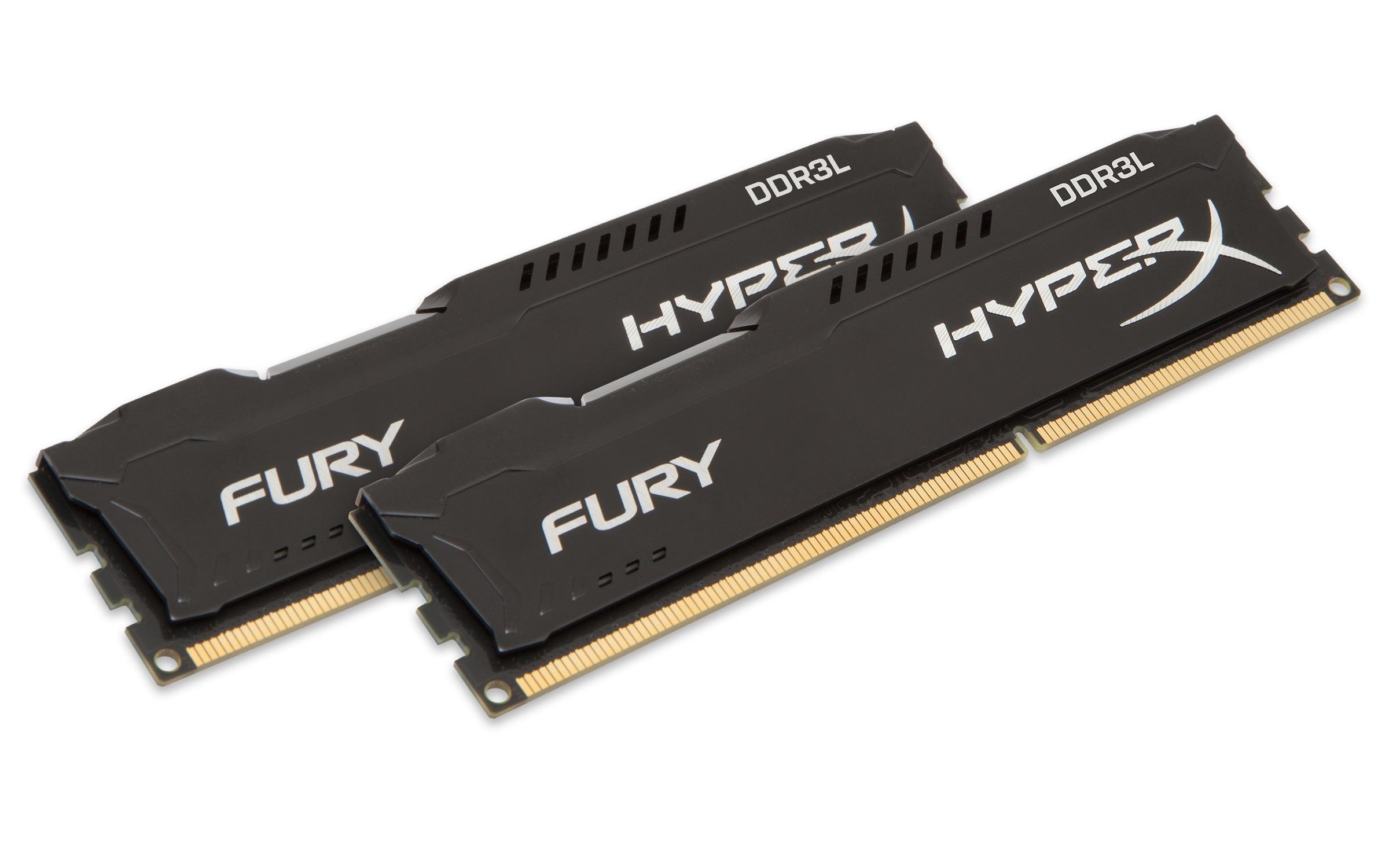 8GB DDR3L-1600MHz  HyperX Fury Black, 2x4GB - HX316LC10FBK2/8