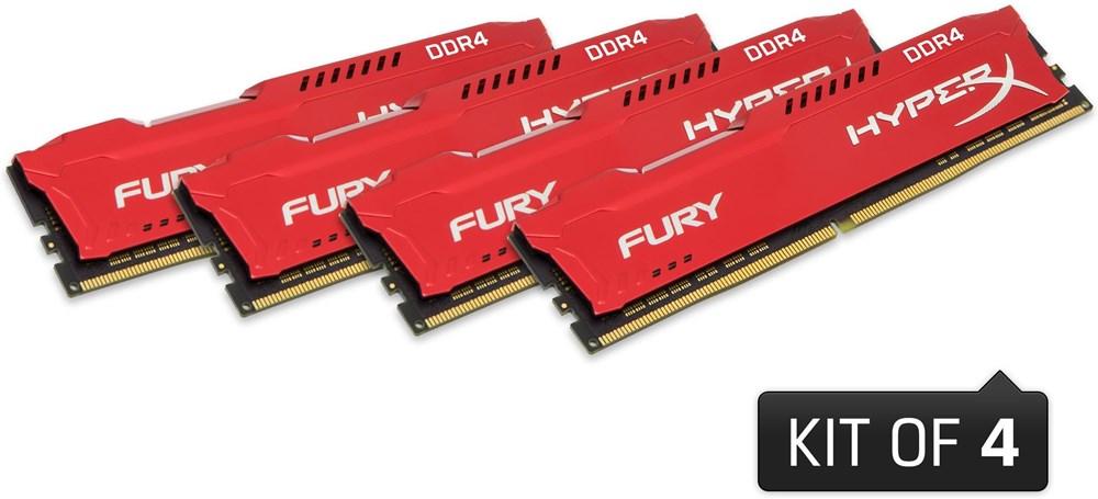 64GB DDR4 2400MHz CL15 DIMM HyperX FURY Red, 4x16GB