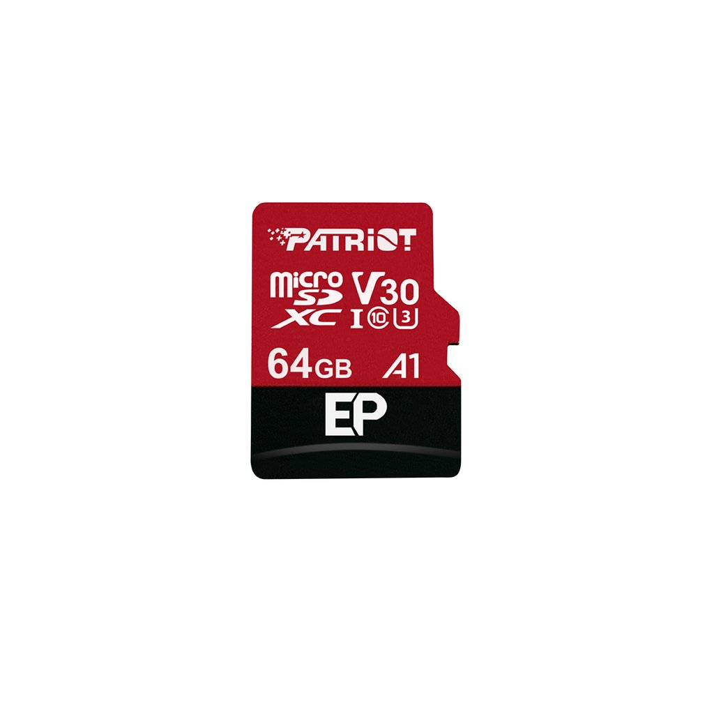 64GB microSDXC Patriot V30 A1, class 10 U3 100/80MB/s + adapter - PEF64GEP31MCX