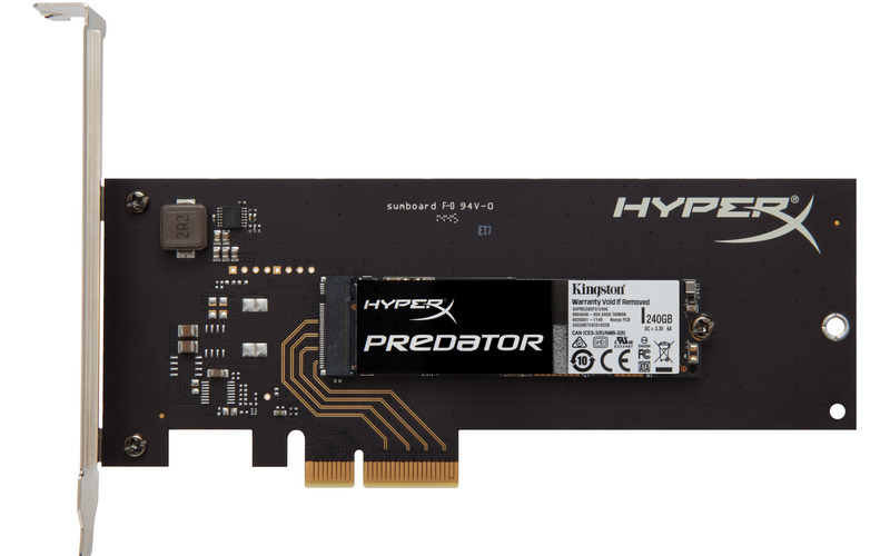 240GB HyperX Predator M.2 x4 + HHHL adaptér SSD s PCIe Gen2 x4 s kartou a 2 záslepkami