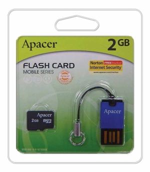 Apacer microSDHC 2GB + USB Reader