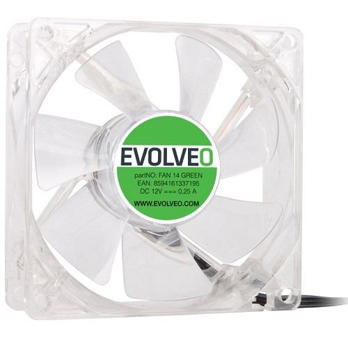 EVOLVEO ventilátor 140mm, LED zelený