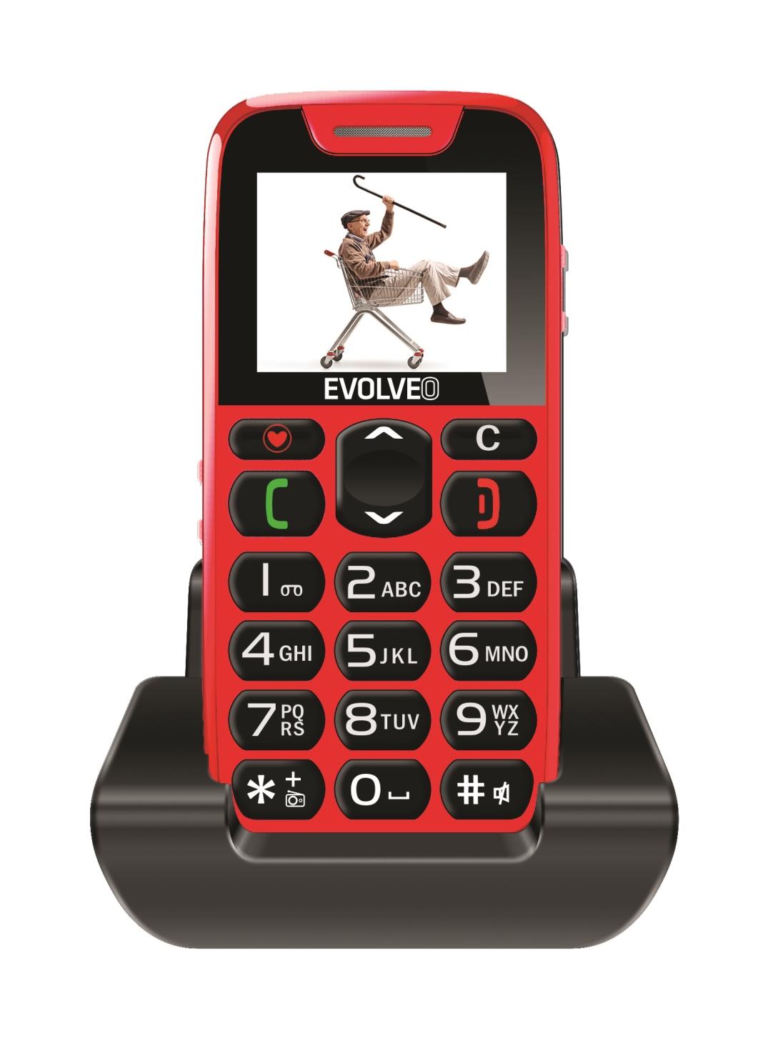 EVOLVEO EasyPhone, mobilní telefon pro seniory s nabíjecím stojánkem (červená barva) - EP-500-RED