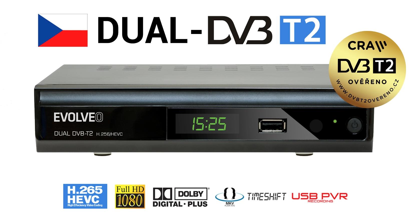 EVOLVEO Gamma T2, Dual HD DVB-T2 H.265/HEVC rekordér