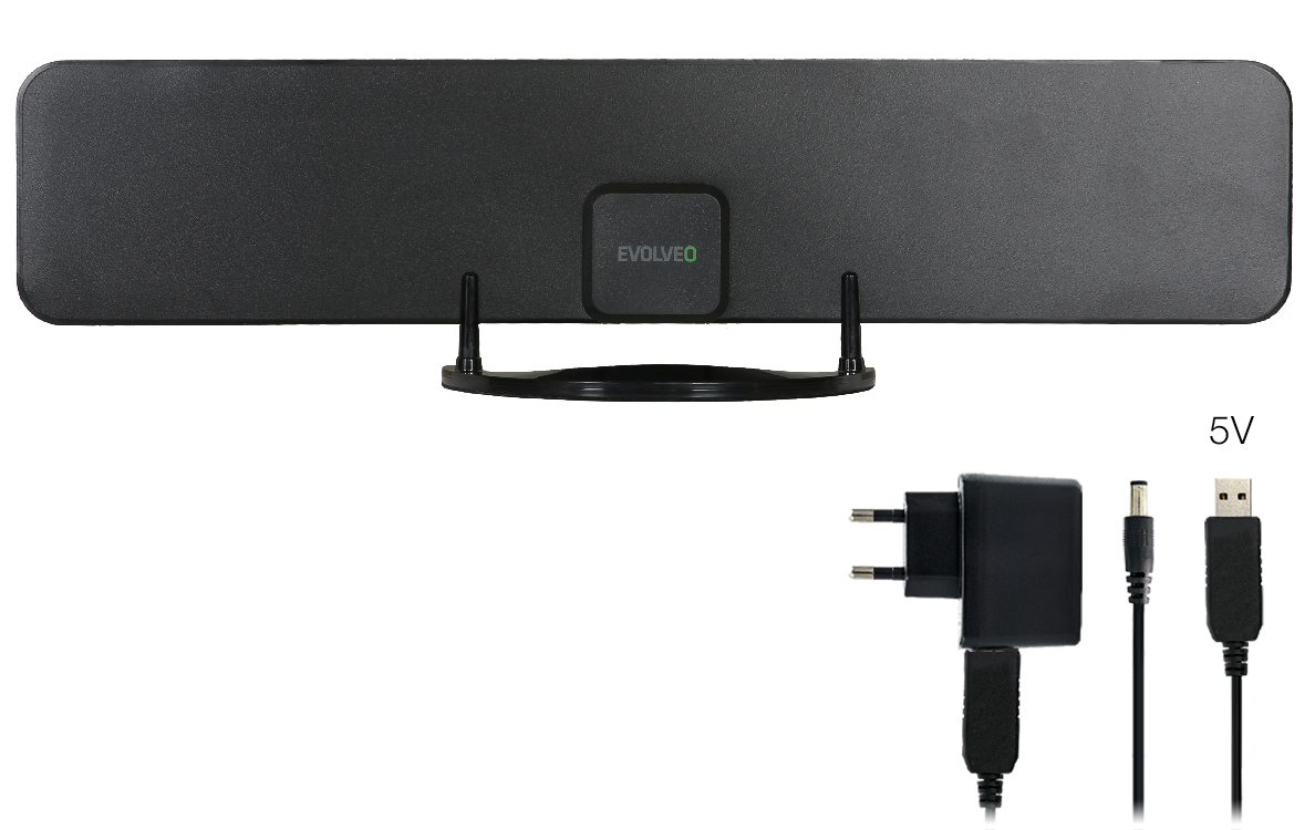EVOLVEO Xany 2B LTE 230/5V, 43dBi aktivní pokojová anténa DVB-T/T2, LTE filtr - tdexany2b