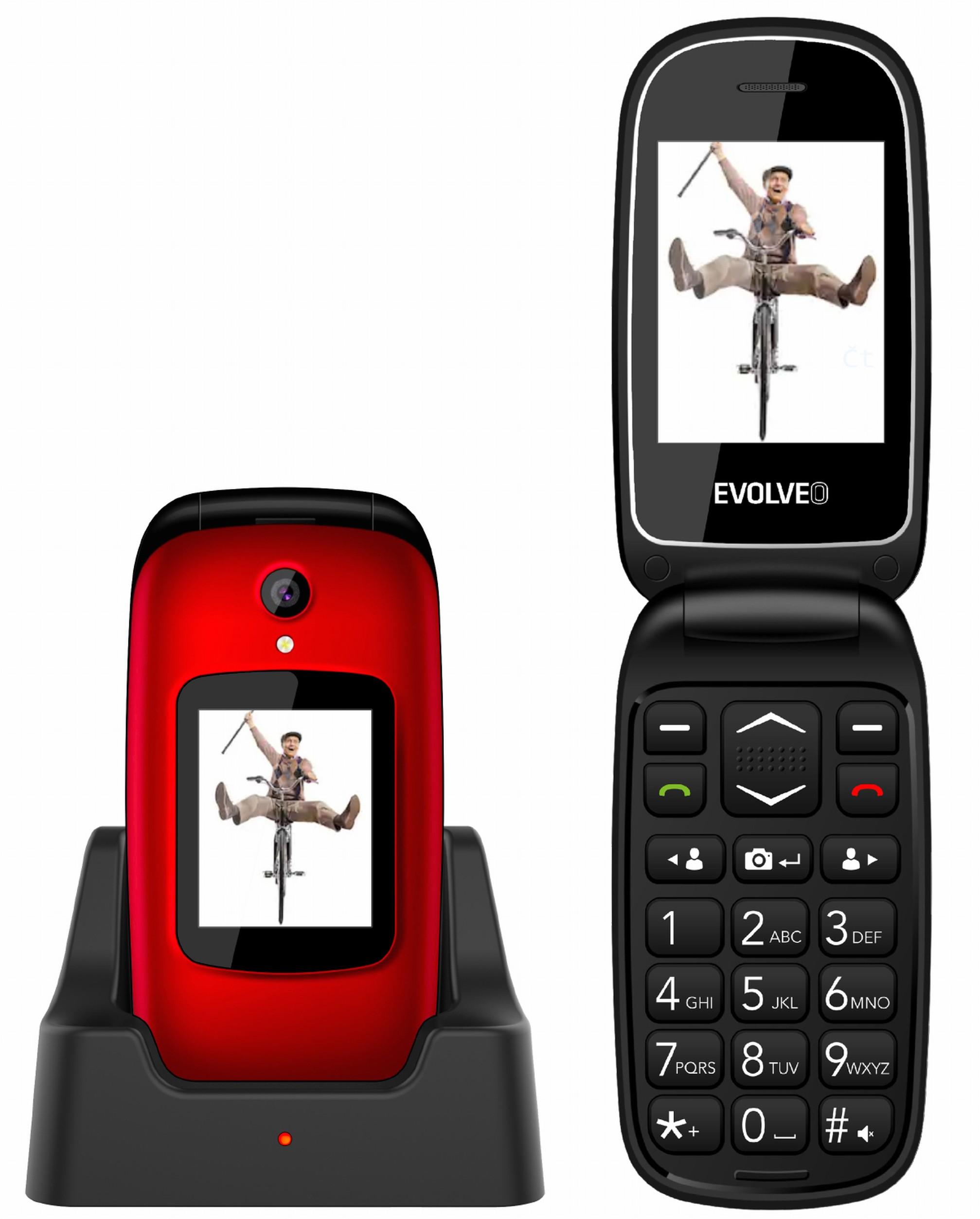 EVOLVEO EasyPhone FD, mobilní telefon pro seniory s nabíjecím stojánkem (červená barva) - EP-700-FDR