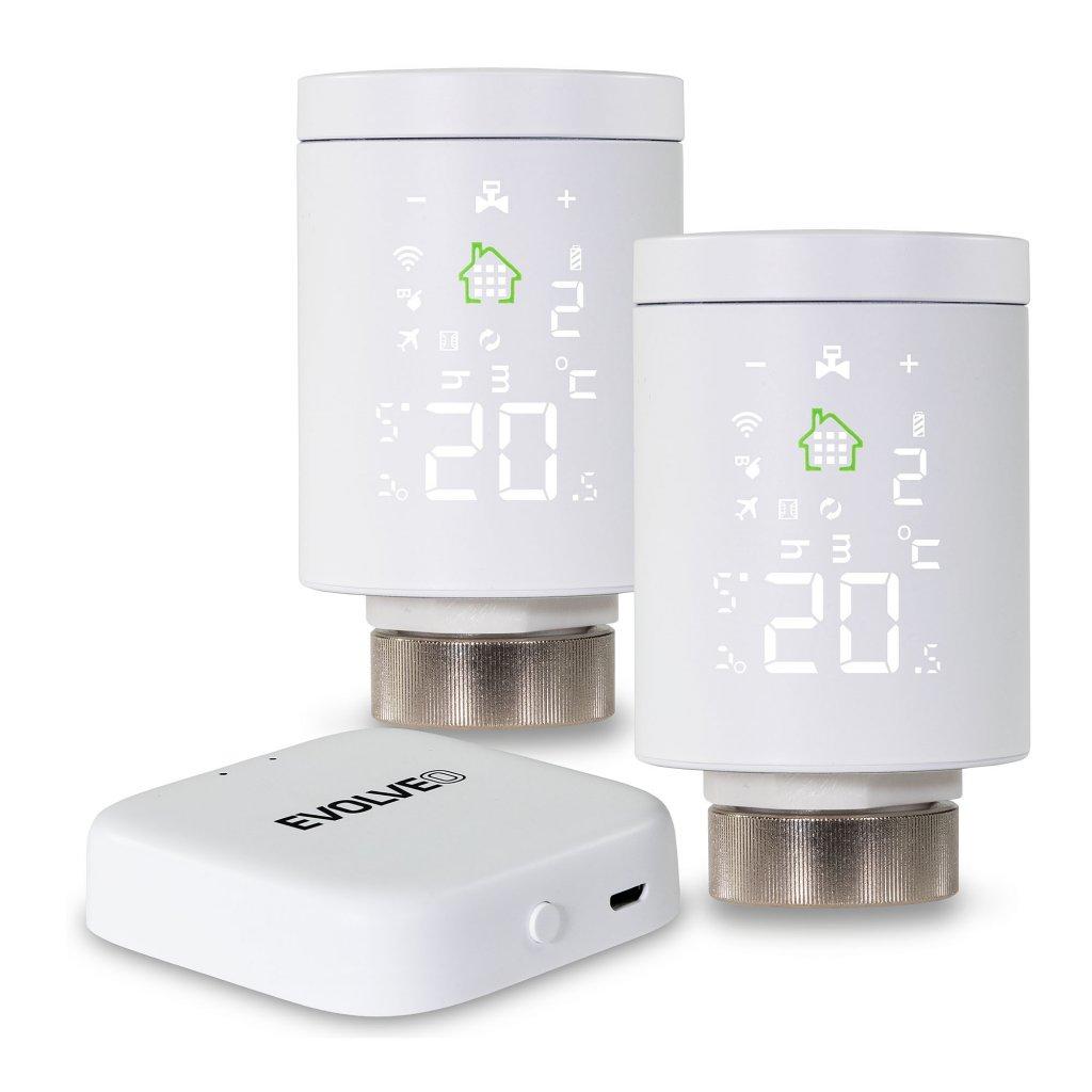 EVOLVEO Heat M30 Starter Pack, 2× chytrá termostatická hlavice na radiátor & centrální jednotka - EVO-RV-M30SP