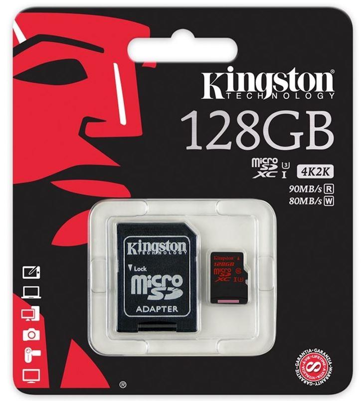 128GB microSDXC Kingston UHS-I Class U3 90MB/s read, 80MB/s write + SD Adapter